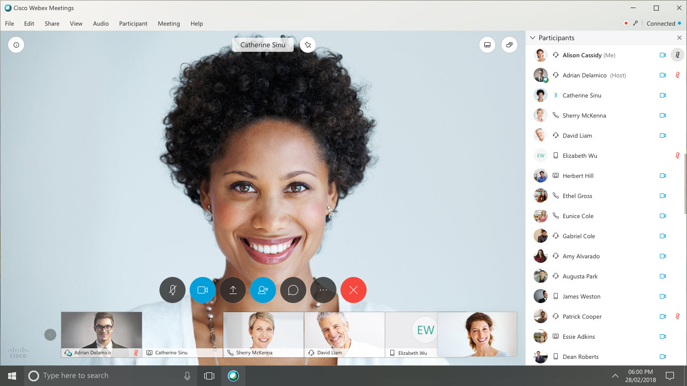 Cisco Webex interface